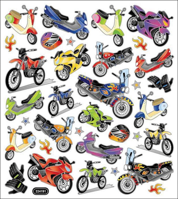 Multicolored Stickers-Motorcycle Mania