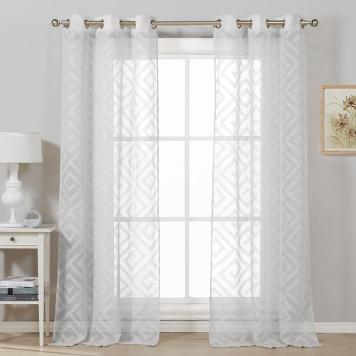 DR International Calleigh Geometric Semi-Sheer Curtain Panels (Set of 2)