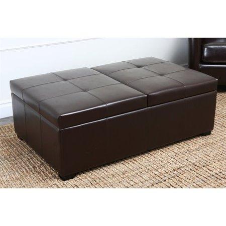 Cool Abbyson Living Havington Leather Storage Ottoman Bench In Dark Truffle Creativecarmelina Interior Chair Design Creativecarmelinacom