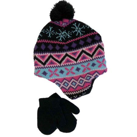 52d168387 Infant Girls Black Nordic Print Knit Baby Pom Beanie & Mittens Trapper Hat  Set