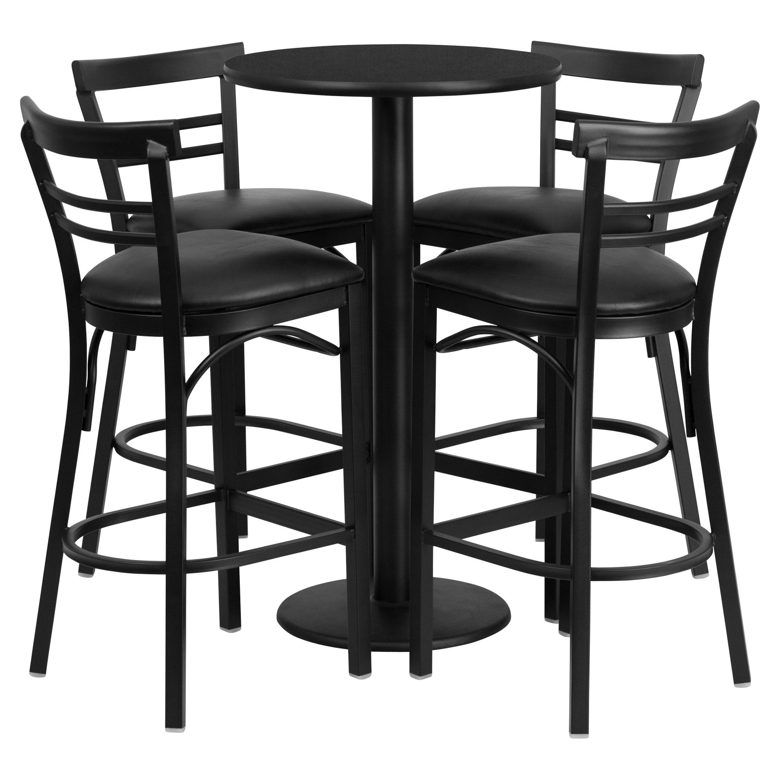 Flash Furniture 24'' Round Black Laminate Table Set with 4 Ladder Back Barstools, Black Vinyl Seat