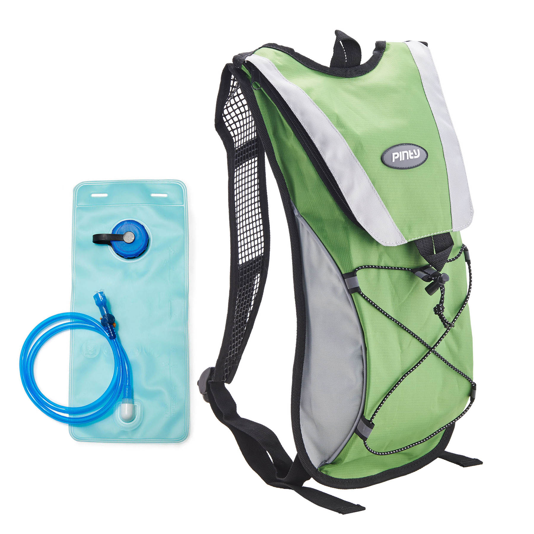 Pinty Premium Nylon Backpack with 2L Water Bladder Hydration Bag for Cycling Climbing Camping Green