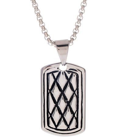 Reinforcements oxidized diamond shaped dog tag necklace in for Reinforcements stainless steel jewelry