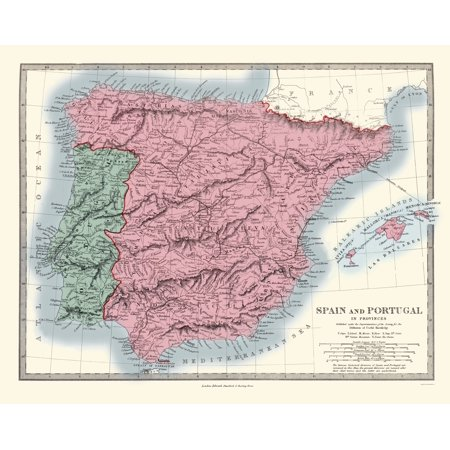 Old Iberian Peninsula Map - Spain and Portugal - Stanford 1865 - 23 ...