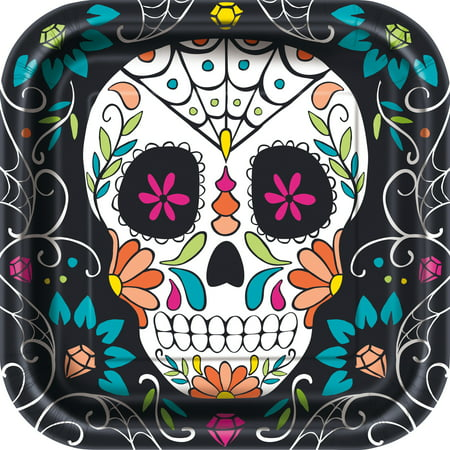 Square Skull Day of the Dead Paper Plates, 9 in, 8ct (Halloween Plate)