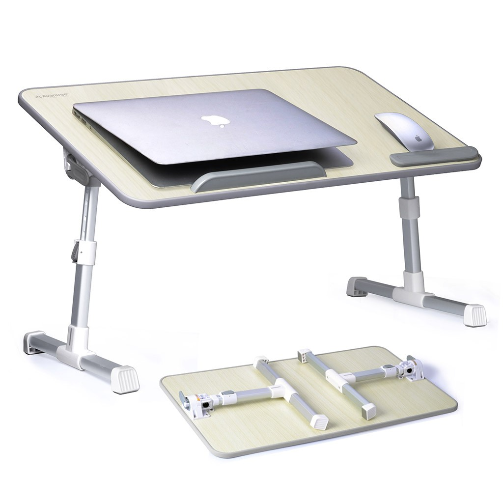 Avantree Adjustable Laptop Bed Table (Large Size), Portable Standing Desk, Foldable Sofa Breakfast Tray, Notebook Stand Reading Holder for Couch Floor Kids - TB101L