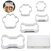 Dog Cookie Cutter Set - 6 Piece - Dog Bone and Dog Paw Print Biscuit Cookie Mold for Homemade Treats - Stainless Steel(Assorted Sizes)