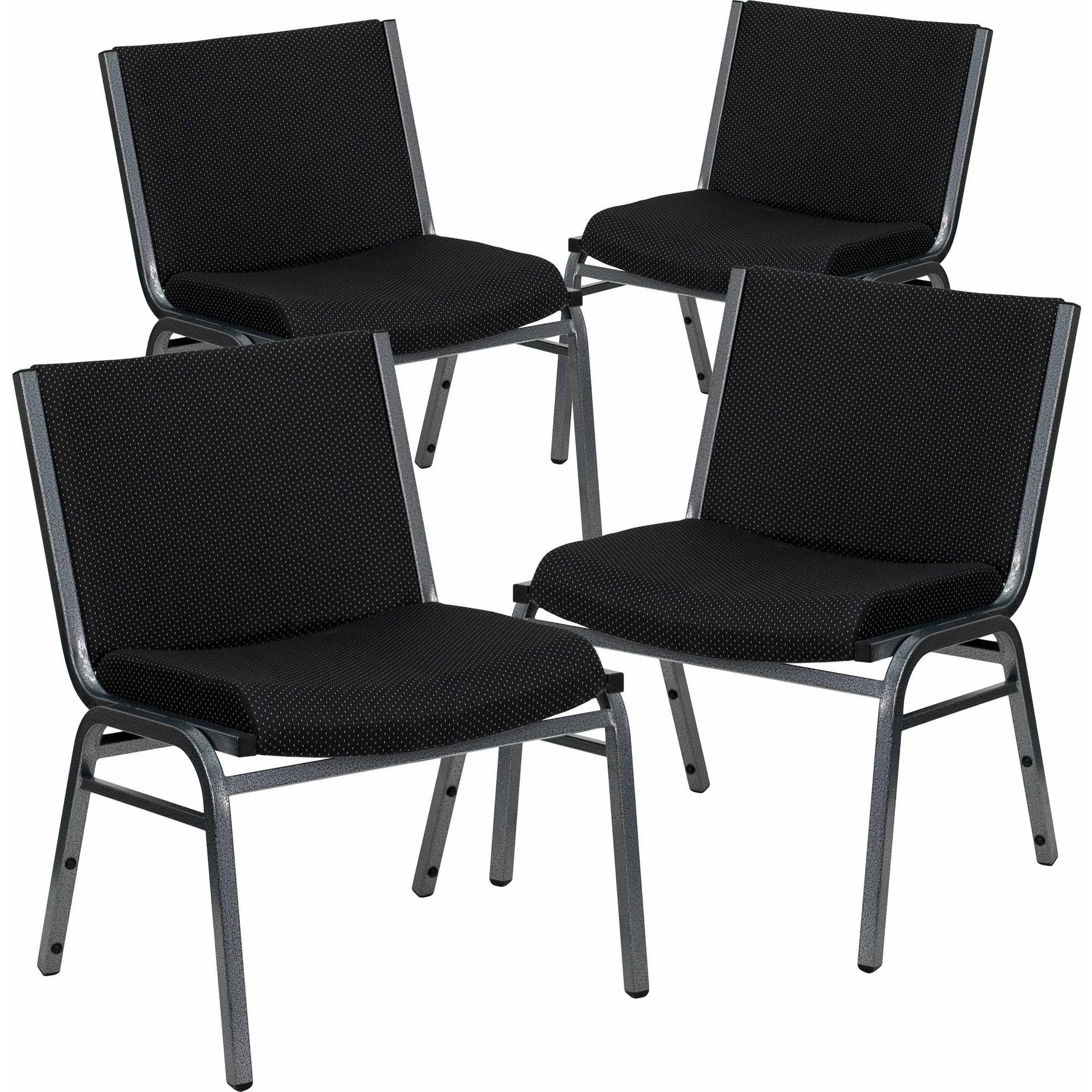 Flash Furniture 4-Pack HERCULES Series 1000 lb Capacity Big and Tall Extra Wide Fabric Stack Chair, Multiple Colors