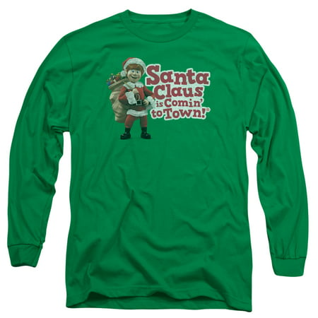 Santa Claus Is Comin To Town/Santa Logo L/S Adult 18/1 Kelly Green   Drm129 - Halloween Town Characters Now