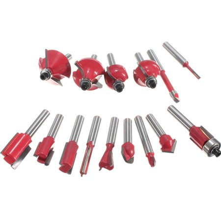 15Pcs Router Bit Set Wood Working 1/4'' Shank Tungsten Carbide Rotary Tool Kit - image 2 of 8