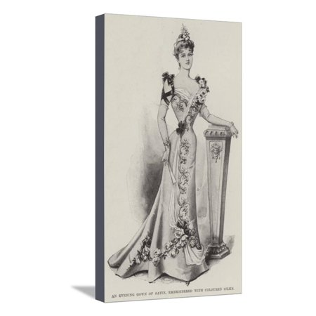 An Evening Gown of Satin, Embroidered with Coloured Silks Stretched Canvas Print Wall Art