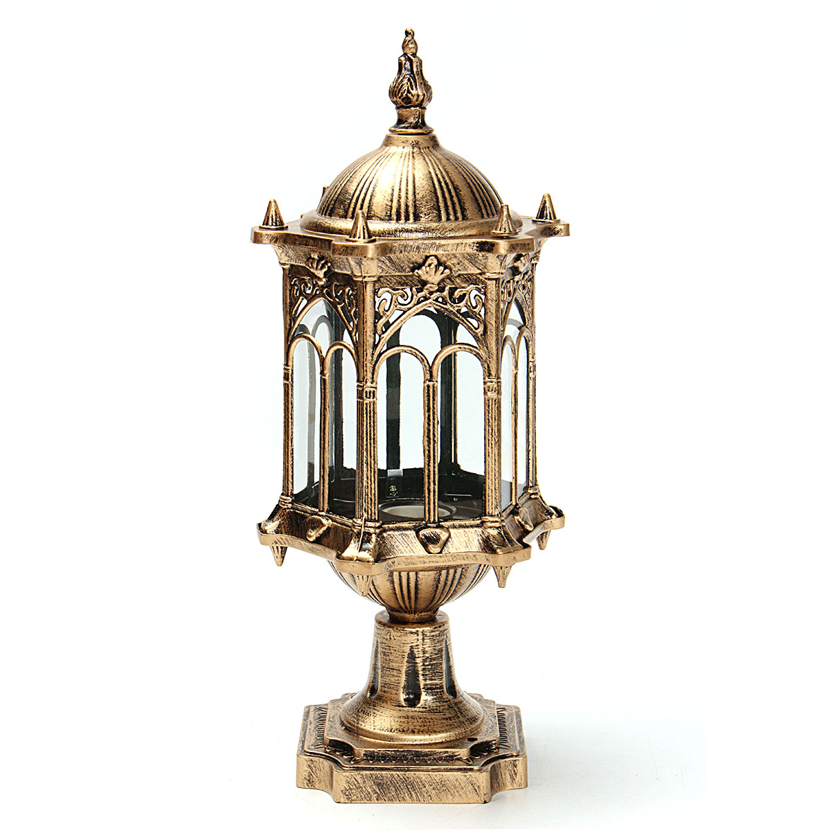 E27 Exterior Path Garden Yard Lantern Porch Lighting Light Outdoor Brushed Solid Brass Wall Lantern with Clear Beveled Glass