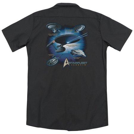 Star Fleet Uniforms (Star Trek Starfleet Vessels (Back Print) Mens Work)