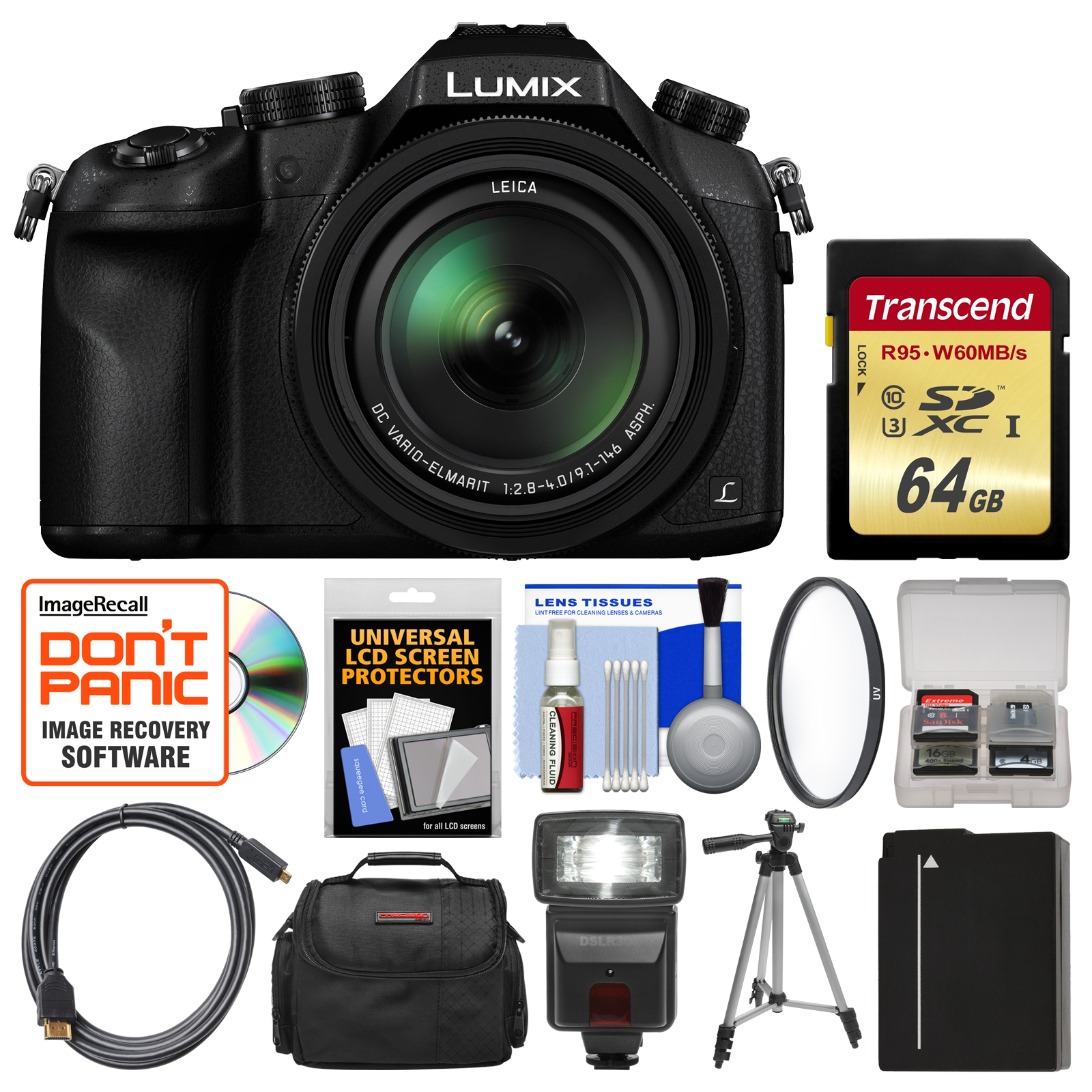 Panasonic Lumix DMC-FZ1000 4K QFHD Wi-Fi Digital Camera with 64GB Card + Case + Flash + Battery + Tripod + Filter + Kit