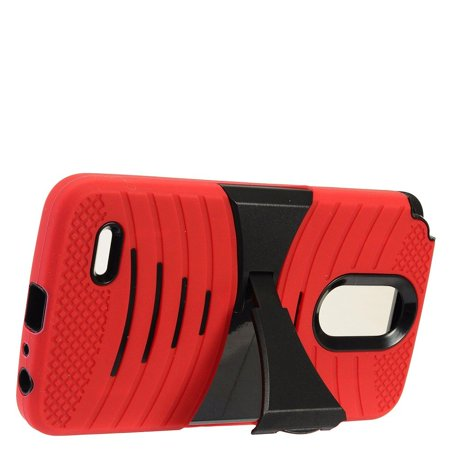 EagleCell Silicone/Plastic Dual Layer [Shock Absorbing] Hybrid Rubber Phone Case Cover w/Stand For LG Stylo 3 LS777 / LG K10 Pro / LG Stylus 3 - Red/Black