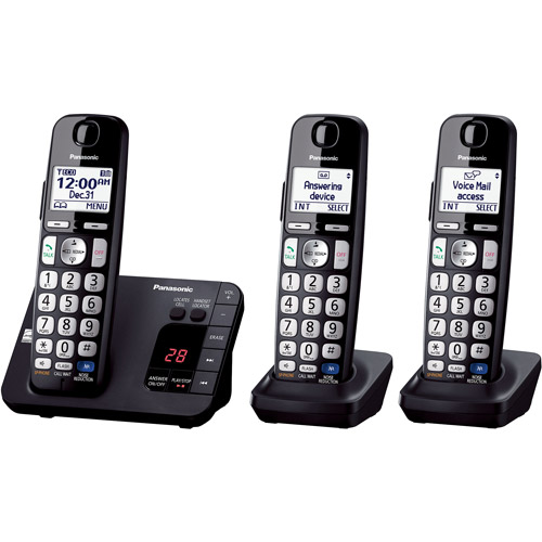 Panasonic KX-TGE233B Expandable Digital Cordless Answering System with 3 Handsets