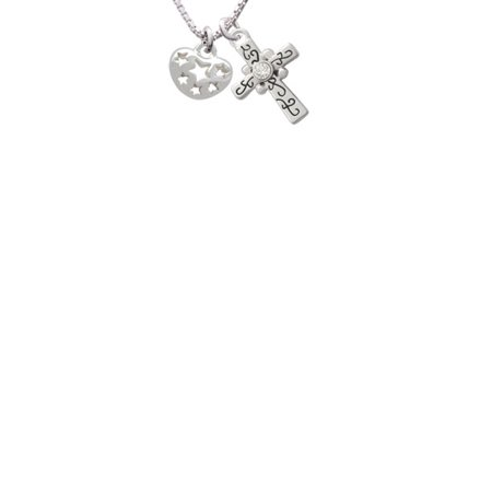 Cut Out Cross - Small Heart with Cut Out Stars Scroll Cross Necklace, 18