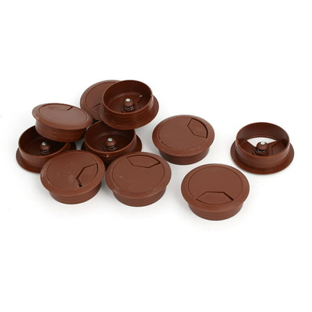 - Computer Desk Plastic Round Grommet Wire Cable Hole Covers Brown 50mm Dia 10pcs