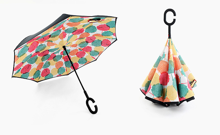 Physics Science Inverted Umbrella Car Reverse Folding Umbrella Windproof UV Protection with C-Shaped Handle