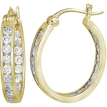 CZ 14kt Yellow Gold over Sterling Silver Hoop Earrings