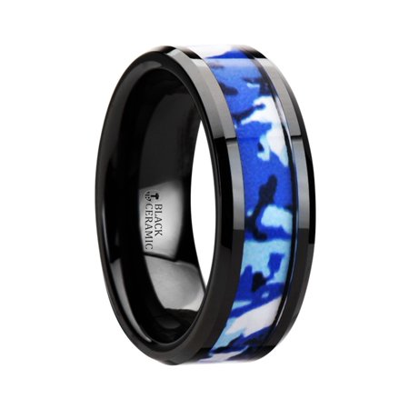 RECOIL Black Ceramic Ring with Blue and White Camouflage Inlay - 8mm 8 Mm Ceramic Ring