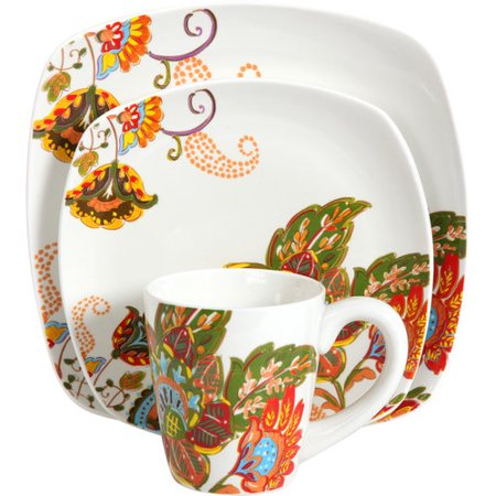Better homes and gardens 16 piece floral spray dinnerware set multi color for Better homes and gardens dinnerware