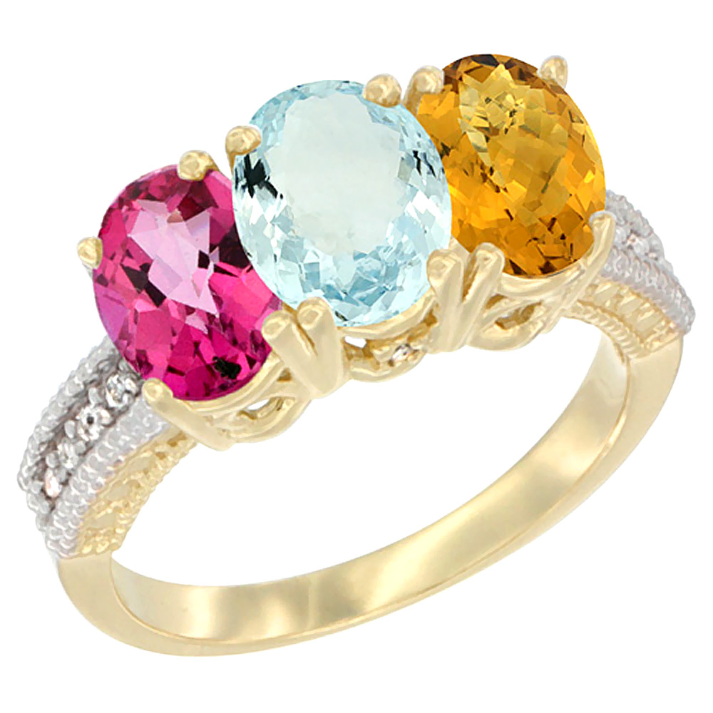 14K Yellow Gold Natural Pink Topaz, Aquamarine & Whisky Quartz Ring 3-Stone 7x5 mm Oval Diamond Accent, sizes 5 10 by WorldJewels