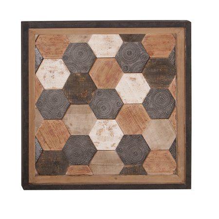 Decmode Rustic 28 X 28 Inch Wood And Metal Framed Hexagon Wall -