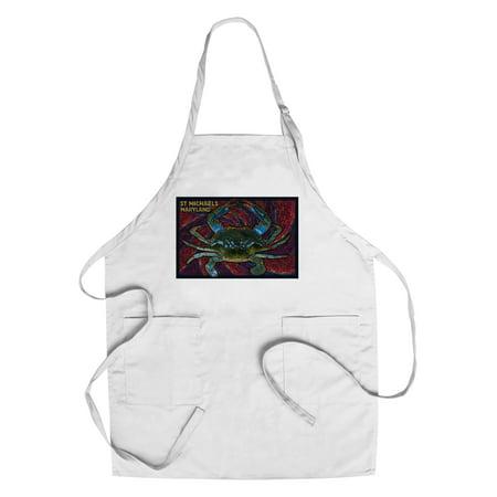St. Michaels, Maryland - Blue Crab Paper Mosaic - Lantern Press Poster (Cotton/Polyester Chef's Apron) - Paper Lanterns Michaels