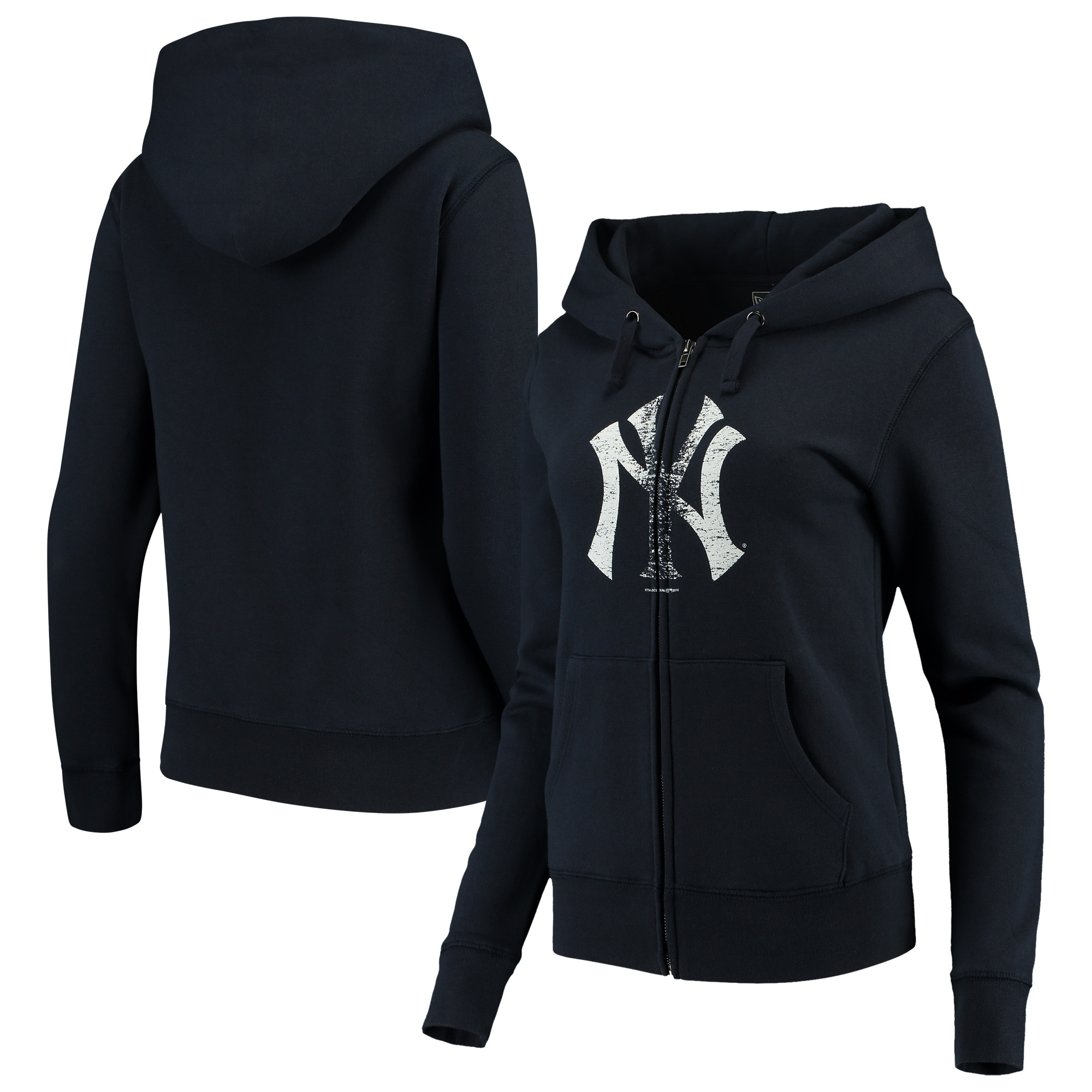 New York Yankees 5th & Ocean by New Era Women's Core Fleece Hoodie - Navy Blue