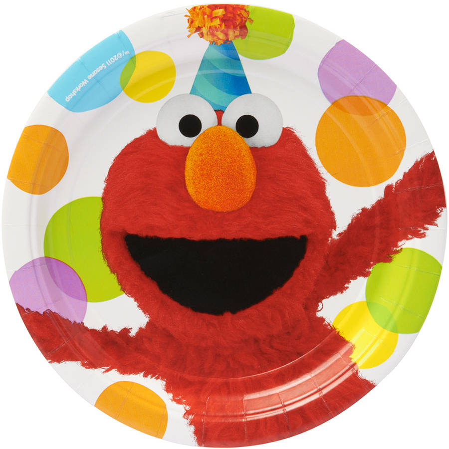 """Elmo 9"""" Round Plate, 8 Count, Party Supplies"""