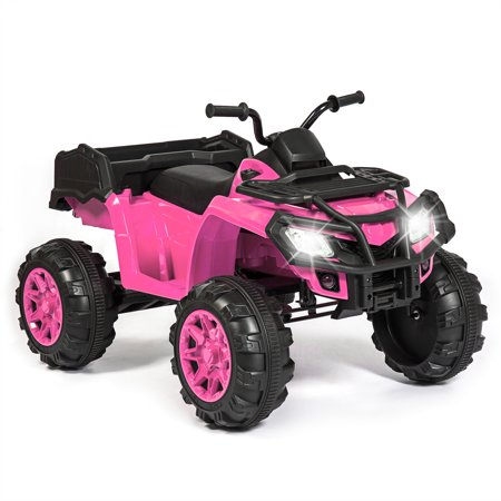 3 Wheeled Kit Car - Best Choice Products 12V Kids Powered Large ATV Quad 4-Wheeler Ride-On Car w/ 2 Speeds, Spring Suspension, MP3, Lights, Storage - Pink