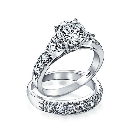 3CT Round Solitaire Brilliant Cut Heart Shaped AAA CZ Pave Band Engagement Wedding Ring Set For Women Sterling (Heart Wedding Set)