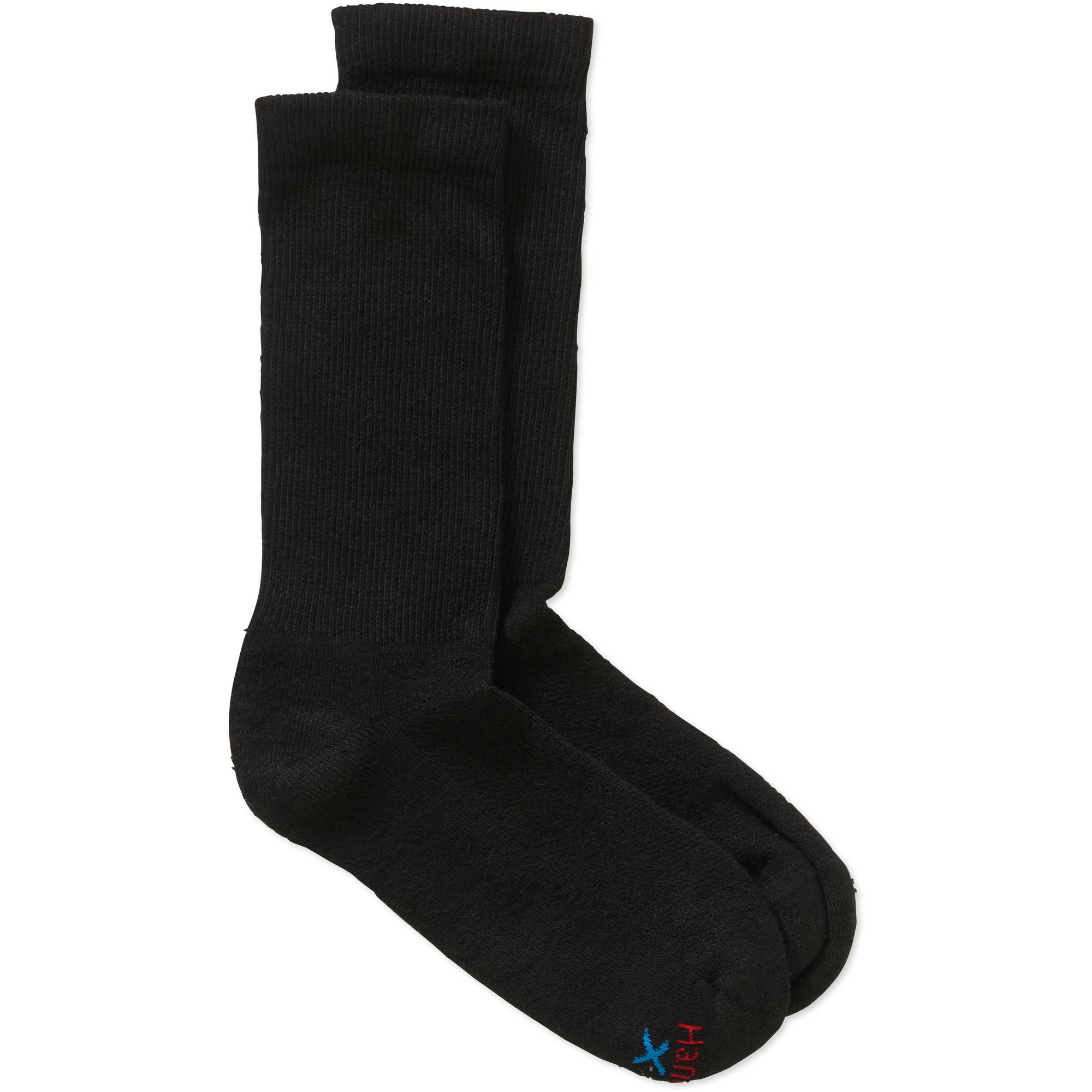 Hanes Men's Ultimate X-Temp Black Crew Socks, 5 + 1 Bonus Pack
