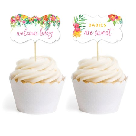 Tropical Floral Garden Party Baby, Cupcake Topper DIY Party Favors Kit, Fancy Frame Shape, 18-Pack - Tropical Cupcakes