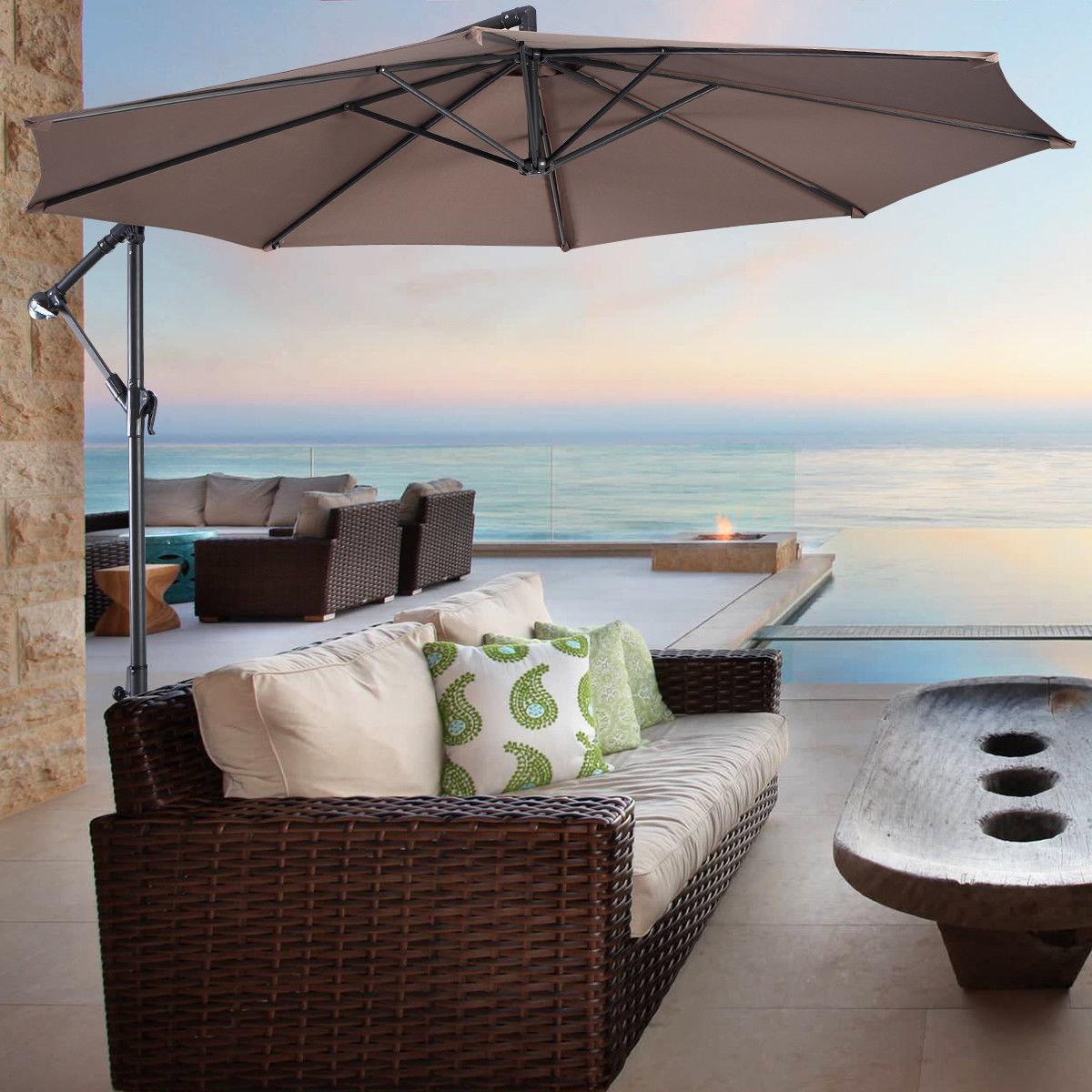 Costway 10' Hanging Umbrella Patio Sun Shade Offset Outdoor Market W/t Cross Base (Tan)