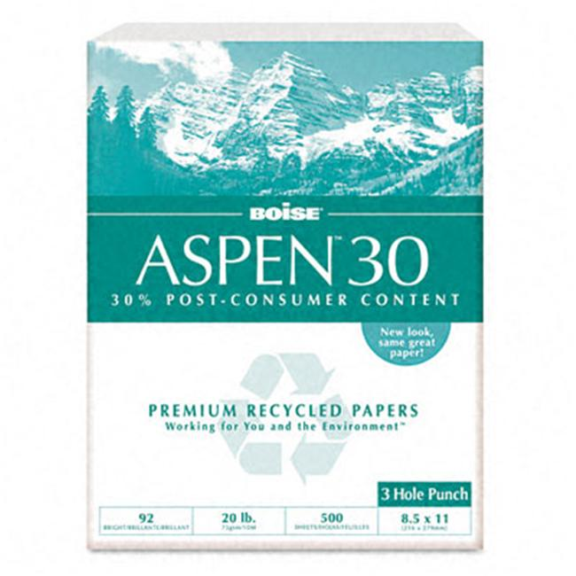Boise 054901P Aspen 30 Recycled Copy Paper  3-Hole  92 Brightness  20lb  Letter  5 000 Sheets