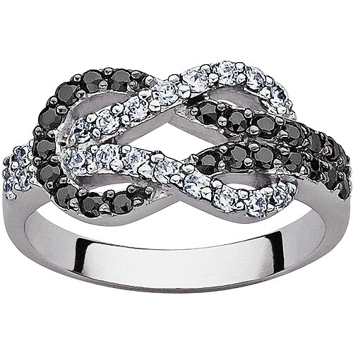 .56 Carat T.G.W. Black and White CZ Sterling Silver Infinity Knot Ring