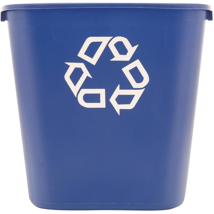Rubbermaid Commercial Medium Rectangular Blue Plastic Deskside Recycling Container, 28 qt