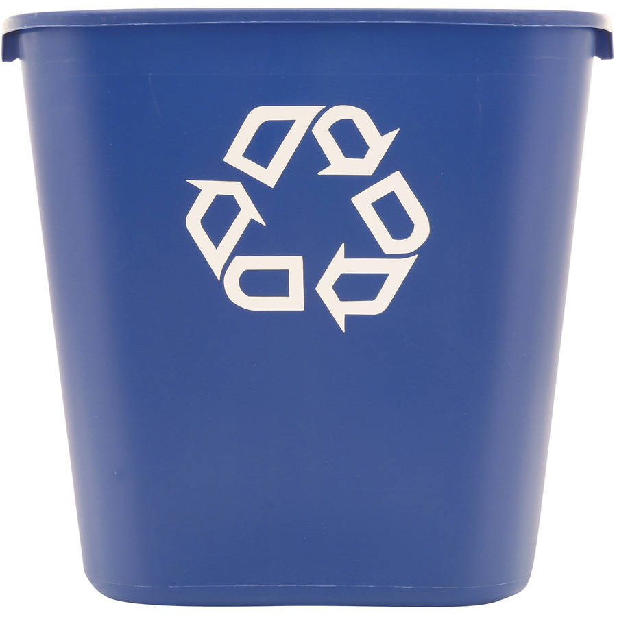 Rubbermaid Commercial Medium Rectangular Blue Plastic Deskside Recycling Container, 28 qt