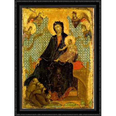 - Franciscan Madonna 28x38 Large Black Ornate Wood Framed Canvas Art by Duccio