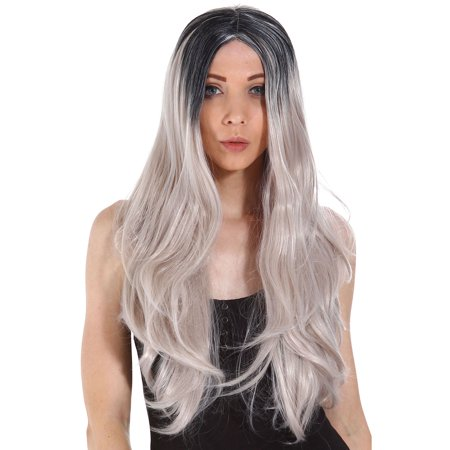2 Tone Wig (Long Straight Two Tone Black & Grey Ombre Full Hair Wig )