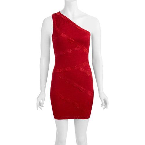 Juniors' Lace One Shoulder Dress