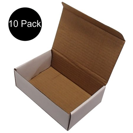 (10) Corrugated Cardboard Mailers 6 x 4 x 2 Inches Tuck Top One-Piece Die-Cut Shipping Cartons Small White Mailing Boxes