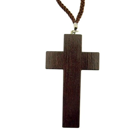 Simple Dark Wood Latin Cross Pectoral Necklace on Cord Chain, 3 1/4 Inch (Wood Cross Necklace)