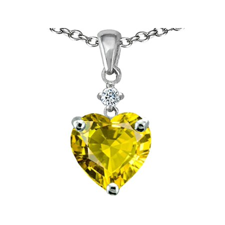 Star K Heart shape 8mm Simulated Citrine Pendant Necklace in Sterling Silver