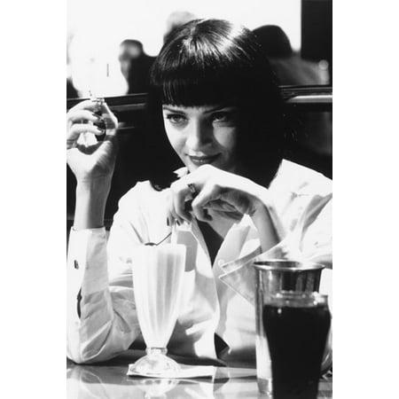 Pulp Fiction Uma Thurman In Diner iconic scene with milkshake 24x36 Poster - Uma Thurman Pulp Fiction Halloween