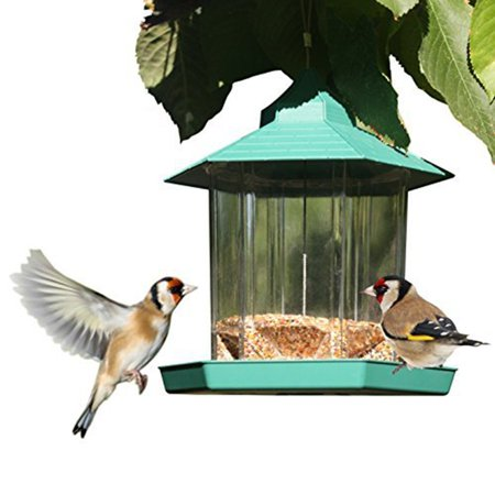 PetsN'all Gazebo Bird Feeder Transperant Hanging Wild Bird Feeder for Garden Back Deck Yard Hexagon Shaped with Roof Up to 2.25 (Gazebo Feeder)