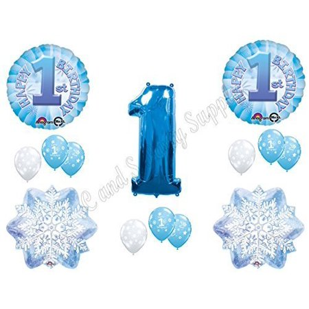 WINTER ONE-DERLAND 1st Birthday party Balloons Decoration Supplies First Snow by Anagram (Snow White Birthday Decorations)