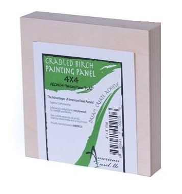"""(Pack of 4)- 4""""x4"""" Deep - NATURAL 1 5/8"""" Poplar cradled Birch faced painting panel"""